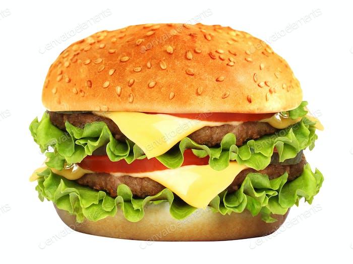 Großer Hamburger auf weißem Hintergrund