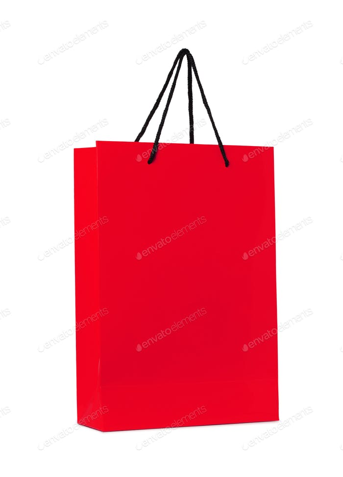 red shopping bag isolated