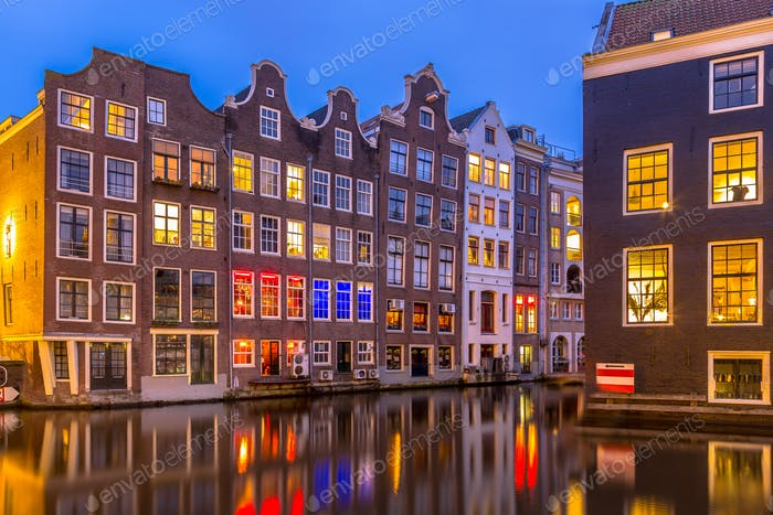 Night shot Canal houses at twilight Amsterdam