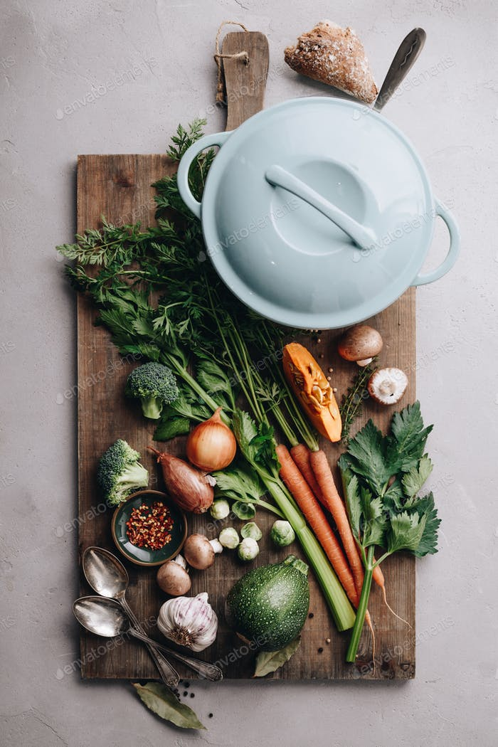 Cooking pot and various organic ingredients, top view