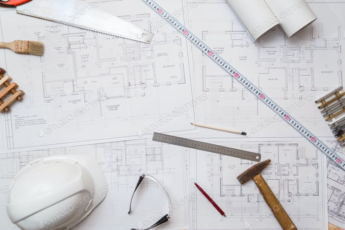 Thumbnail for Architect or engineer workplace with drawings and tools, top view