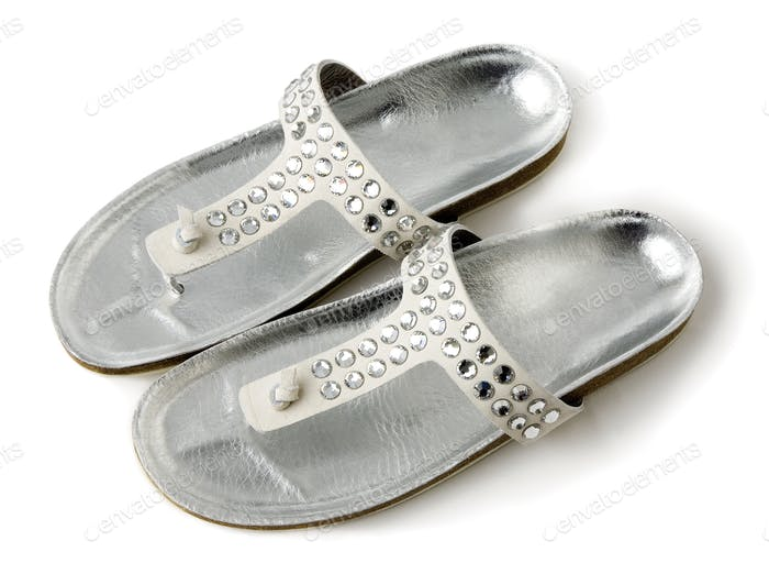 Carved crystals silver flip flop sandals
