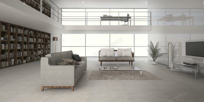 3d rendering  white loft living room with sofa and tv