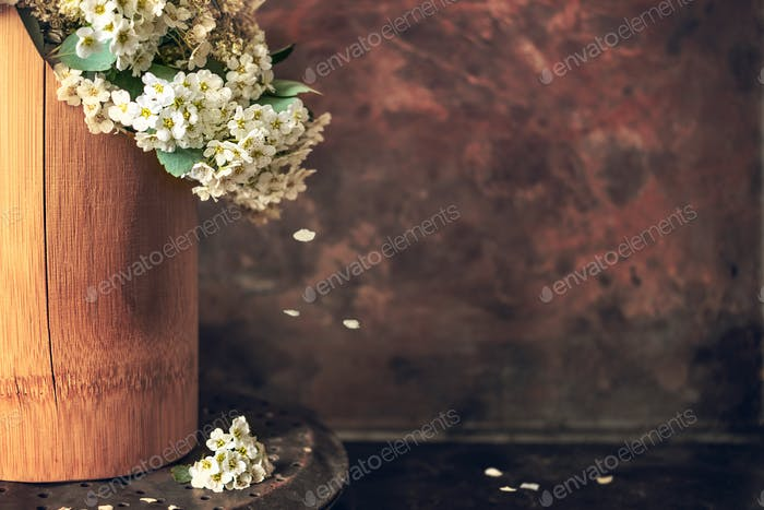 Japanese philosophy Wabi Sabi background. White small flowers spirea with falling petals in a brown
