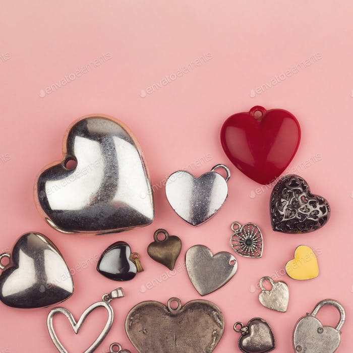 heart shaped jewelry in many colors and sizes