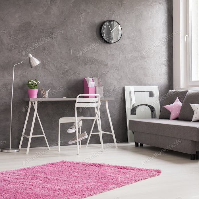 Minimalist interior in grey, pink and white