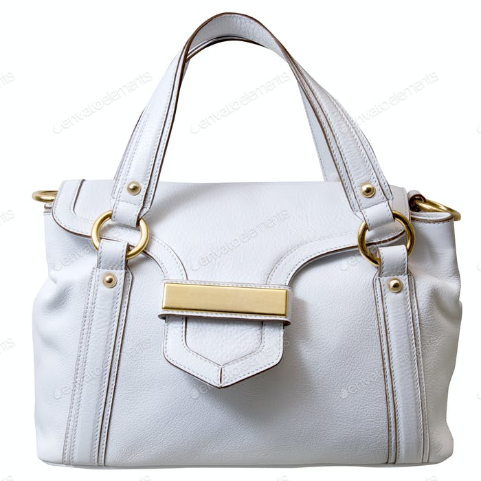 luxury white leather female bag isolated on white