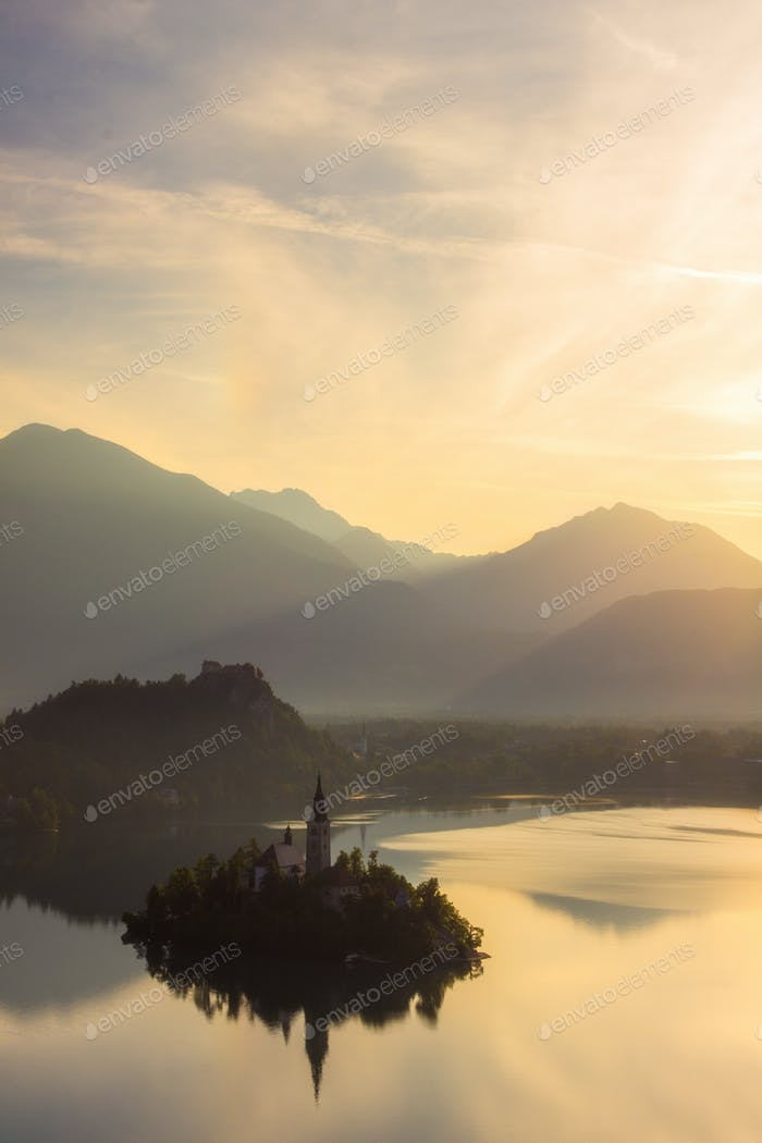 Vertical view of Bled lake in julian alps slovenia