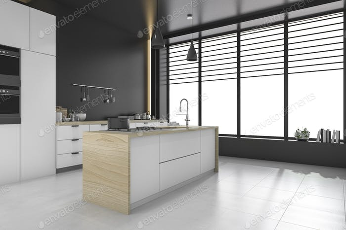 3d rendering modern loft black kitchen and dining room