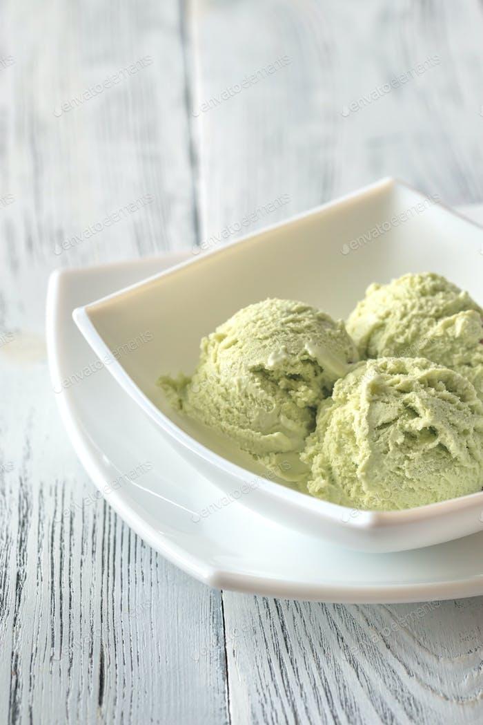 Pistachio ice cream in the bowl