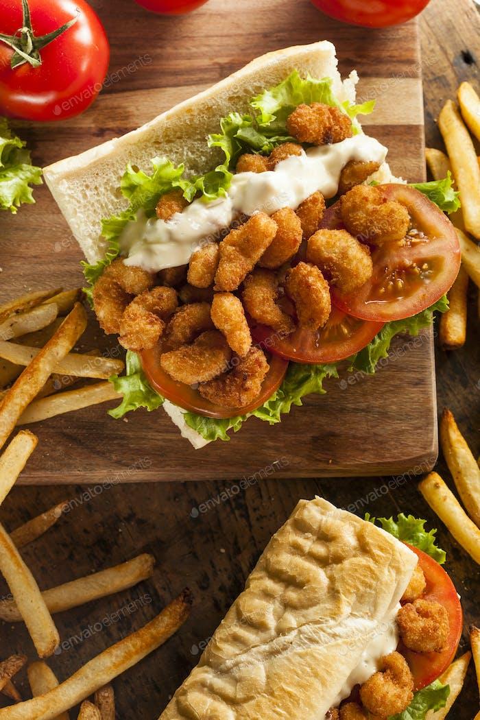 Homemade Shrimp Po Boy Sandwich
