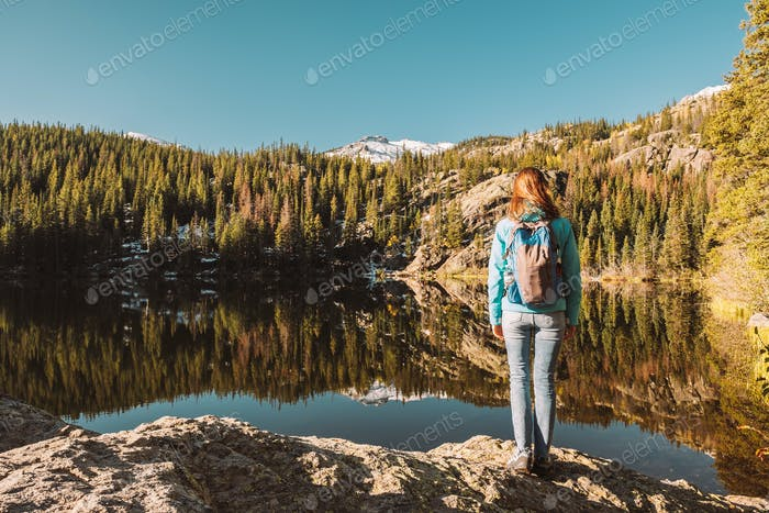 Tourist near Bear Lake in Colorado