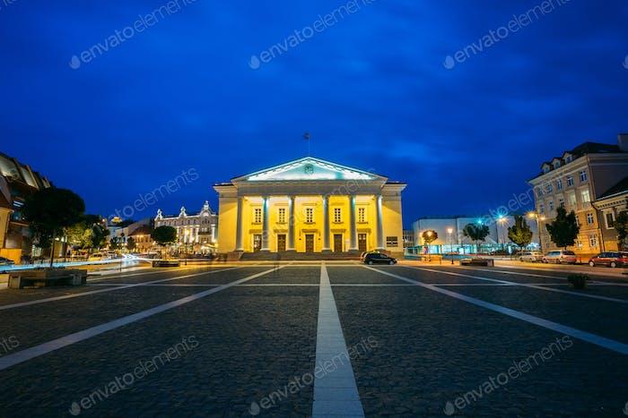 Vilnius Lithuania. Illuminated Town Council In Evening Didzioji