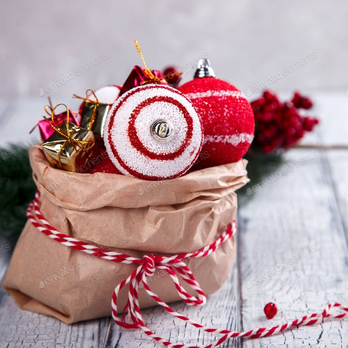 Christmas Decoration Toys in a paper bag