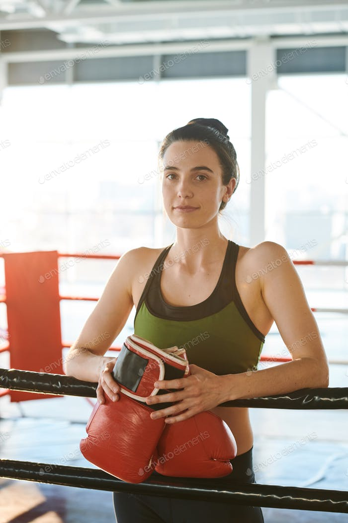 Woman on boxing ring