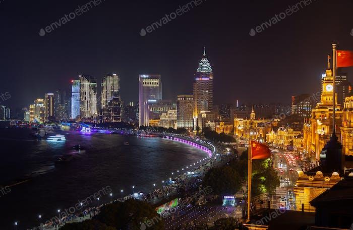 Waitan bank in Shanghai by Huangpu river in China