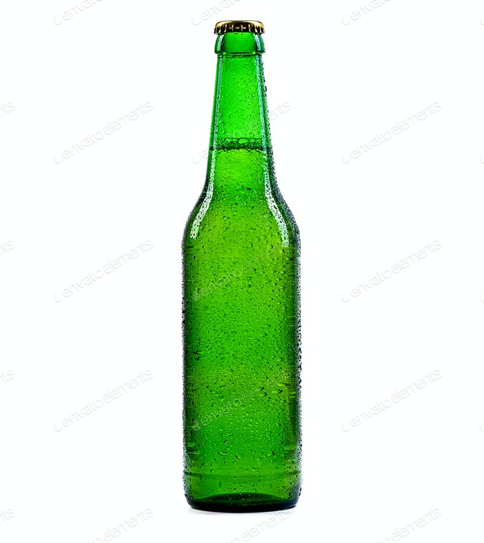Beer bottle green with drops isolation