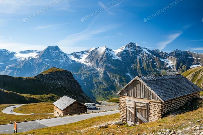 Curvy Panoramic High Alpine Road in Glossglockner, Austria at Au