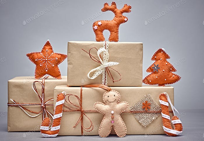 Gift boxes handcraft stack, gingerbread. Christmas
