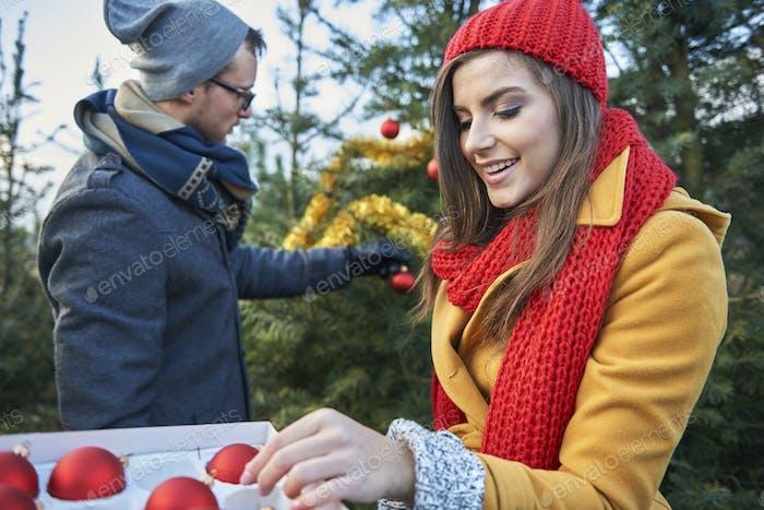 Weihnachtsbaum im Garten muss auch gekleidet werden