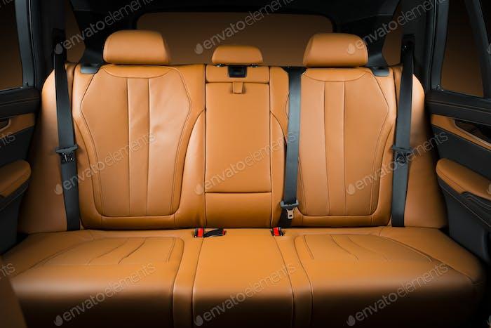 Back passenger seats in modern luxury car