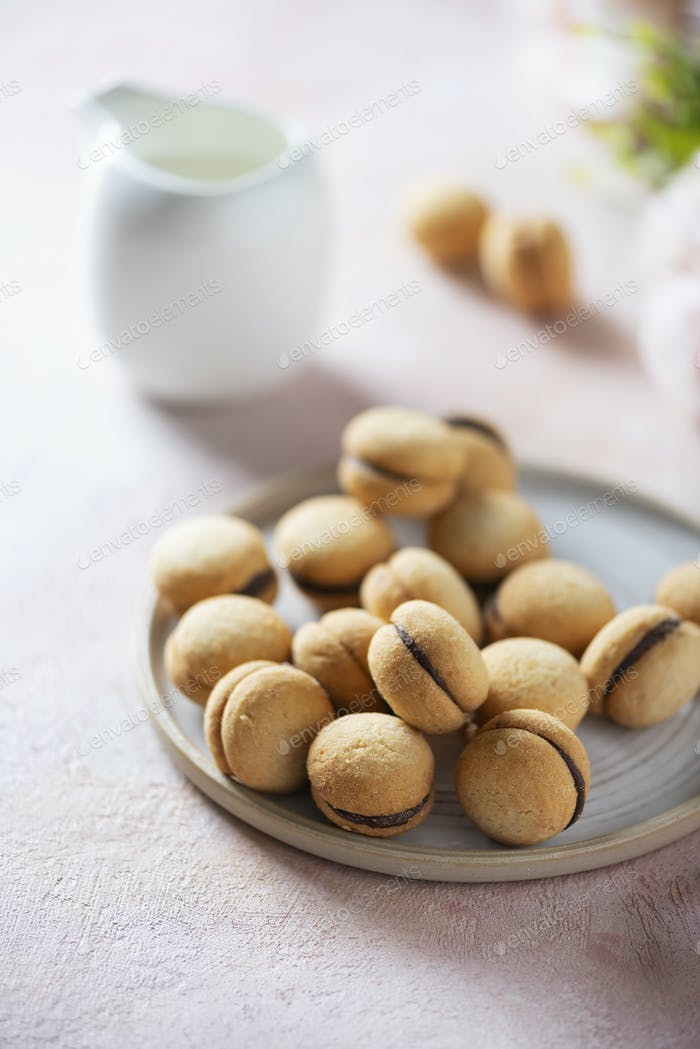 Traditionelle italienische Kekse baci di dama