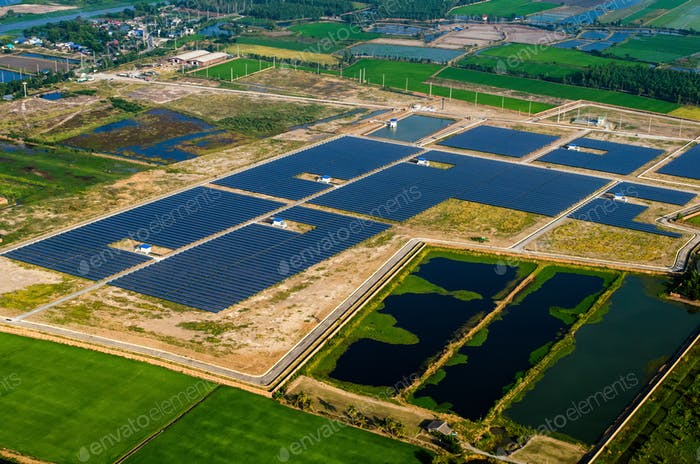 Solar energy system panels, power cells farms