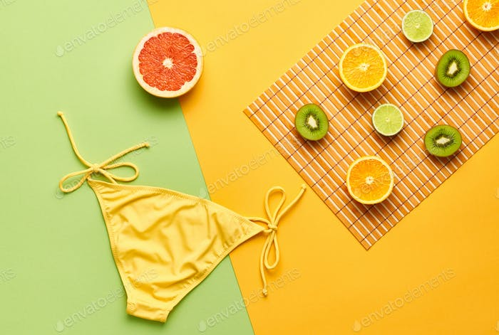 Fashion Summer Outfit.Beach clothes Tropical fruit