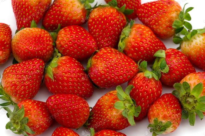 Freshly picked strawberry  isolated on white background