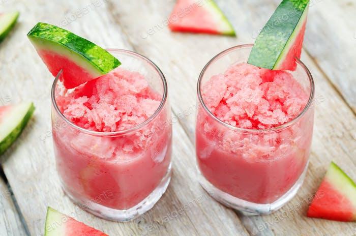 watermelon granita with fresh watermelon slices
