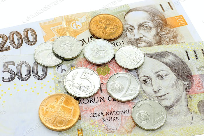 Czech money, banknotes and coins
