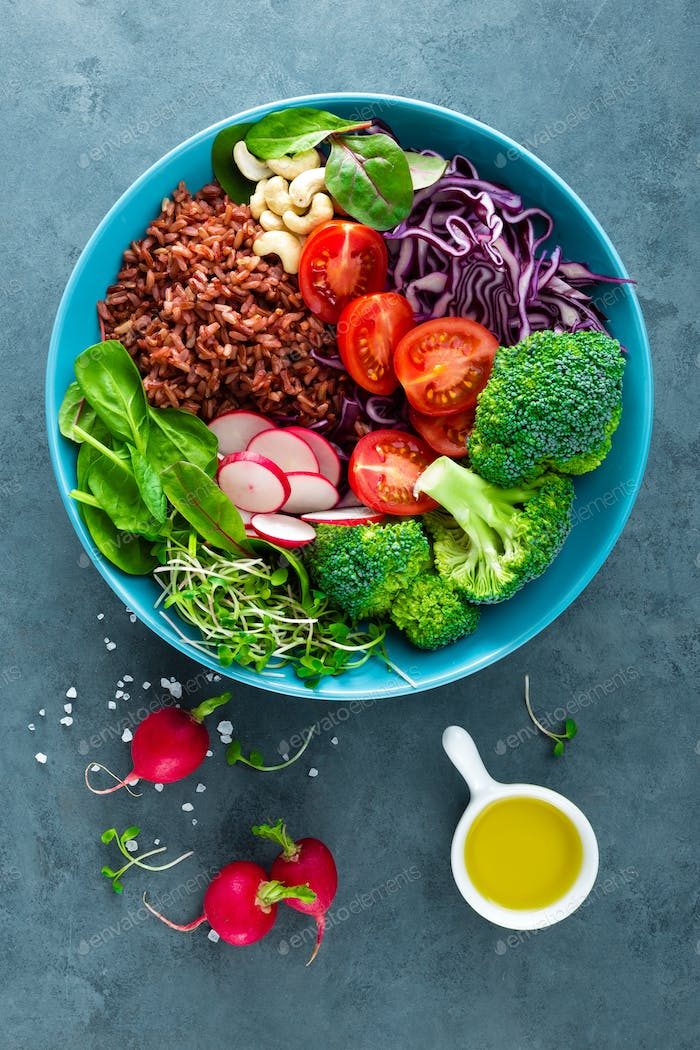 Buddha bowl meal with rice and vegetables