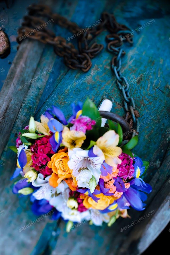 Wedding bouquet. Flowers in boat.