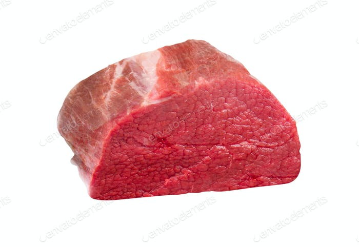 fresh raw beef steak isolated on white background