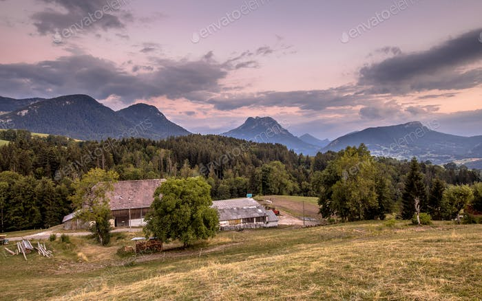 Rural mountain landscape in French Alps after sunset