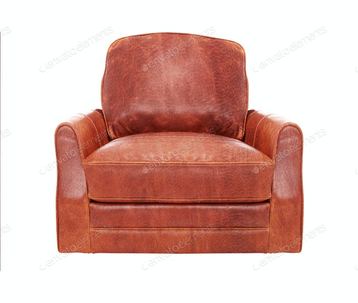 Classic Brown leather armchair isolated on white