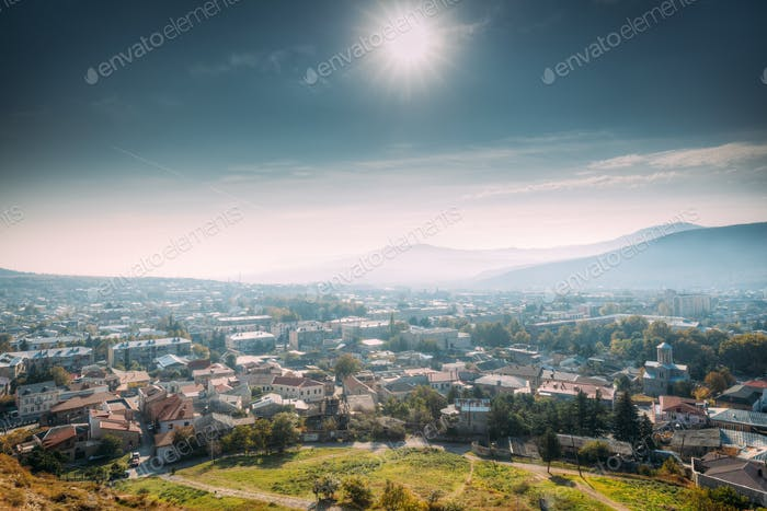 Gori, Shida Kartli Region, Georgia. Cityscape, Walls Of Gori For