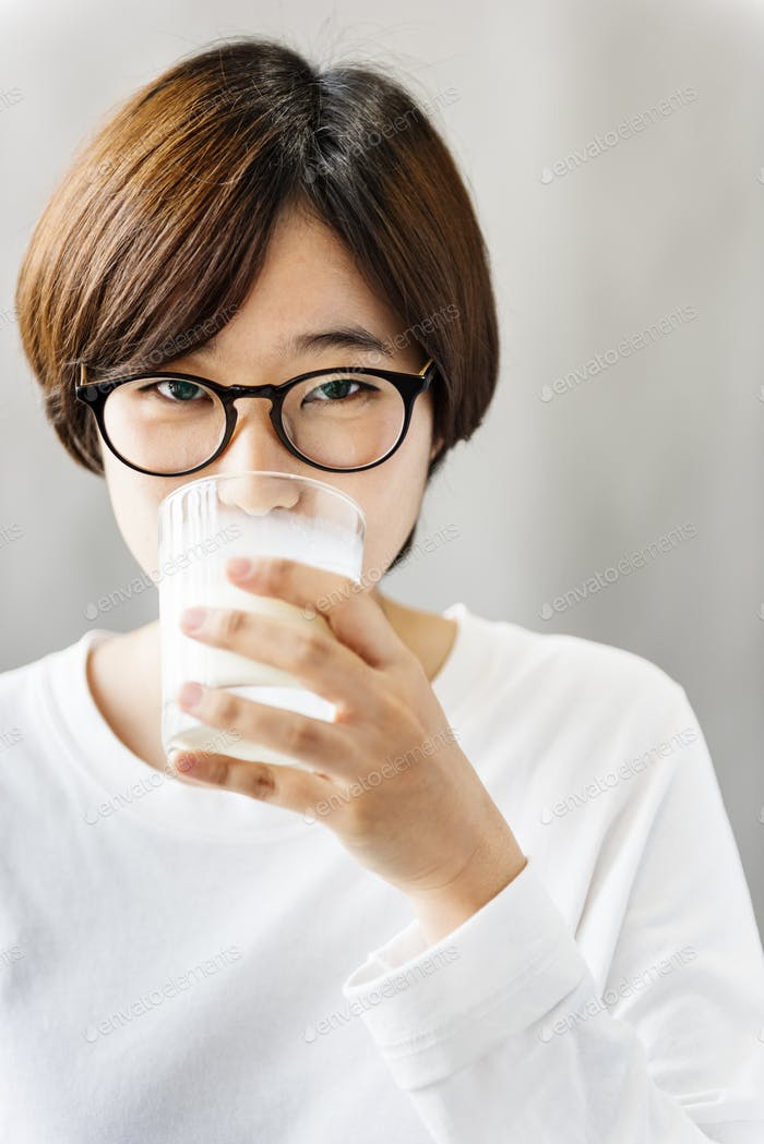 Milk Drinking Asian Ethnicity Relaxation Refresh Concept