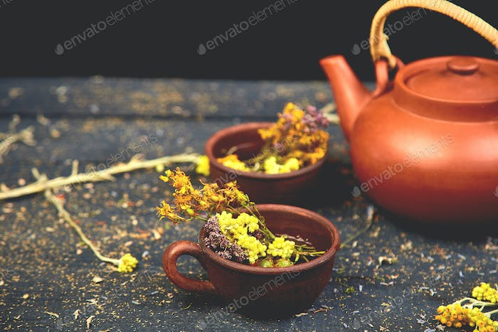 Cup of herbal tea - tutsan, sagebrush, oregano, helichrysum, lavender