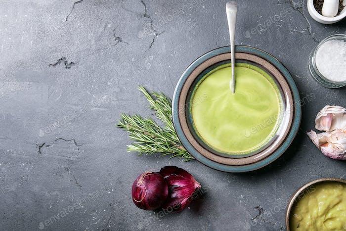 Home made broccoli and pea puree soup