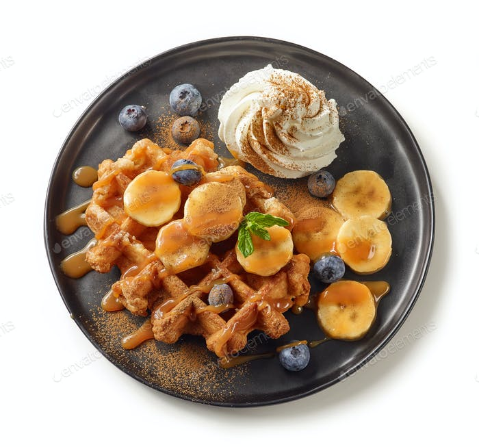 plate of belgian waffle dessert