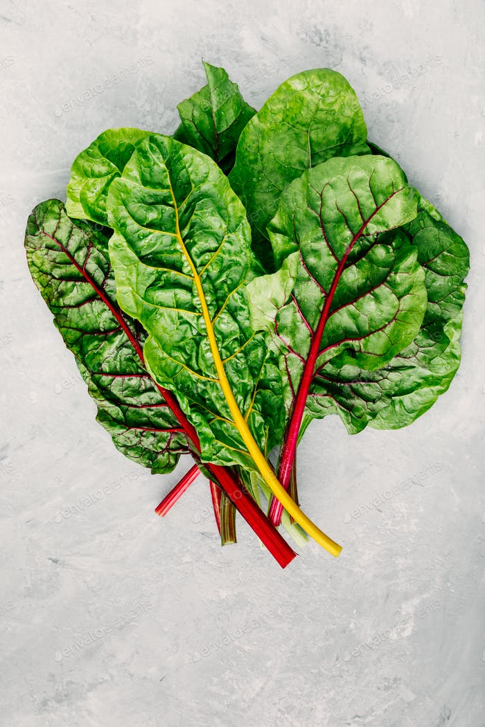 Fresh raw swiss rainbow chard leaves on gray stone background.