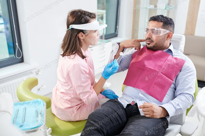 Middle-Eastern Man in Dentists Office