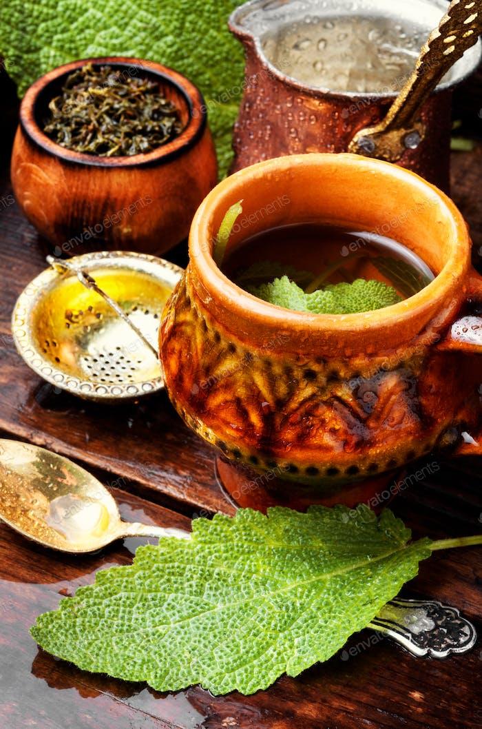 Cup of fresh herbal tea
