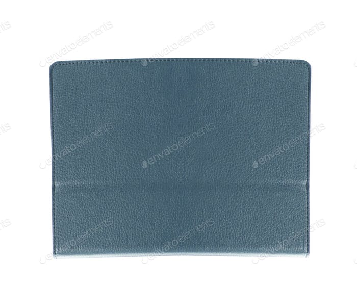 blue leather folio case for tablet isolated