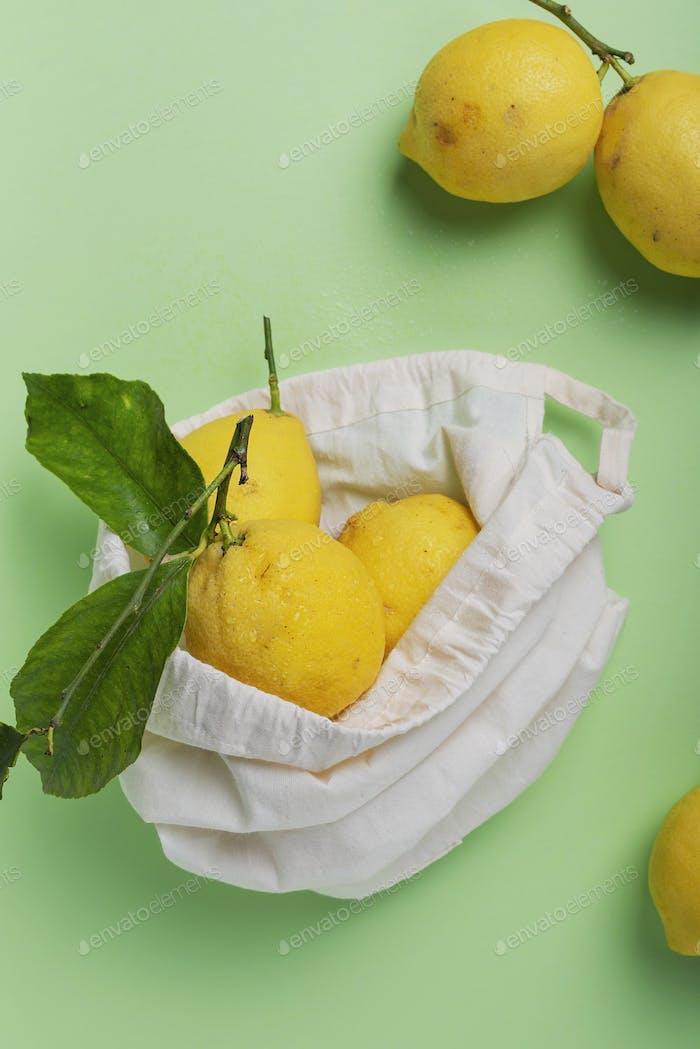 biological lemons with green leave