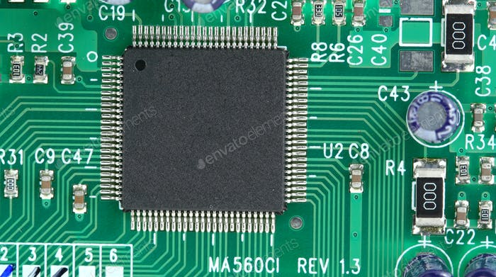 Computer chip on curcuit board
