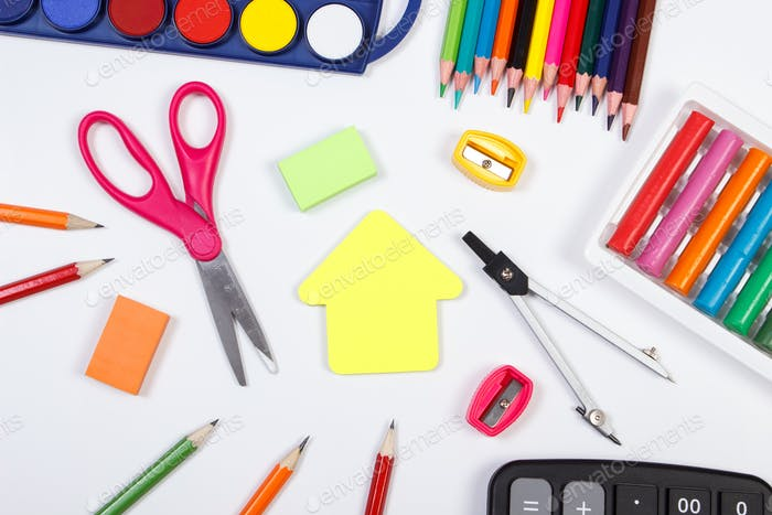 School accessories and shape of building on white background