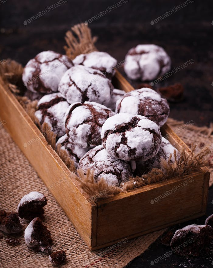 Chocolate Crinkles.Traditional Christmas Baking