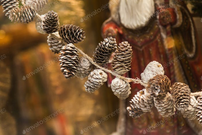 Pine cones. Christmas decor. New year.